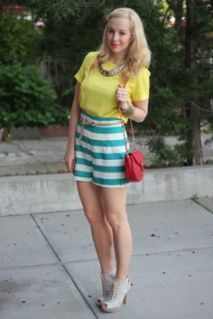Brooklyn Blonde ... striped shorts with yellow shirt