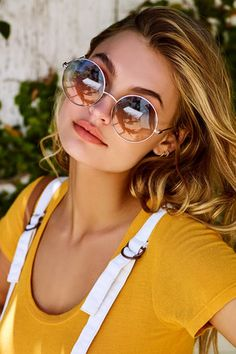 Perverse Half and Half Gold and Blue Round Sunglasses 4