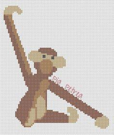 Monkey Kay Bojesen perler pattern by Pia Petrea Hama Beads Design, Hama Beads Patterns, Beading Patterns, Beaded Cross Stitch, Cross Stitch Embroidery, Cross Stitch Patterns, Cross Stitch Animals, Diy Arts And Crafts, Bead Art