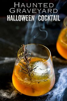 For a simple bourbon based cocktail, why not try this Haunted Graveyard Halloween cocktail. It is perfect for a fall or halloween party as it combines, bourbon and maple for a warm you up drink. Plus the creepy smoking rosemary adds a bit of  spooky fun to your drink. Everyone loves a bit of theatre and this maple, bourbon and orange cocktail is sure to impress. #fallcocktail #halloweencocktail #bourboncocktail