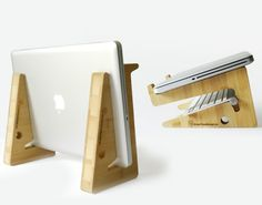 Bamboo Puzzle Laptop Support Macbook 2 Support Puzzle en Bambou Multifonction pour MacBook