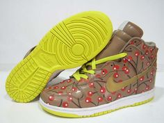 Nike Dunk High Cherry Edition Yellow Brown Red Men's Shoes, Baby Shoes, Nike Dunks, Tory Burch, Cool Style, Adidas, Mens Fashion, Cherry, Sandals