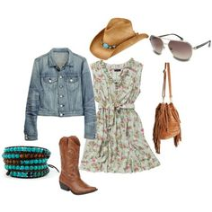 I really like the cowgirl style- girly dress, jean jacket & boots