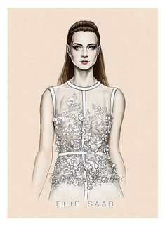 Some fashion illustrations done with looks from this Spring Summer 2014 collections.