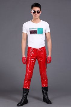 Fashion men genuine leather bright japanned leather pants