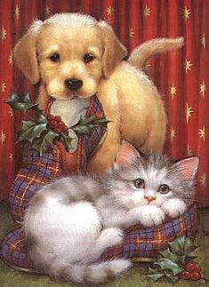 Cute Christmas animals animals silly animals animal mashups animal printables majestic animals animals and pets funny hilarious animal Christmas Scenes, Christmas Animals, Christmas Cats, Christmas Pictures, Merry Christmas, Illustration Noel, Christmas Illustration, Old Fashioned Christmas, Christmas Paintings