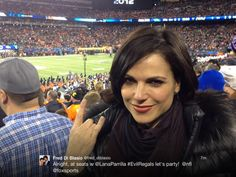 Lana Parrilla our #EvilQueen at her seat with Fred Di Blasio at the Super Bowl! #EvilRegal