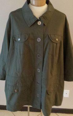 Lane Bryant Casual Jacket Army Green Blazer Womens Plus Sz 26/28 #LaneBryant #casualblazer