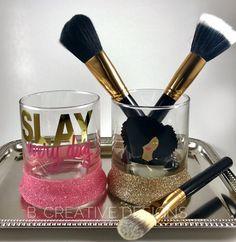 Makeup Brush Holder - 11 Unique Etsy Beauty Finds Sprinkled With Black Girl Magic Makeup Jars, Makeup Brushes, Makeup Tools, Makeup Storage, Makeup Organization, Sephora, Make Makeup, Makeup Geek, Makeup Brush Holders