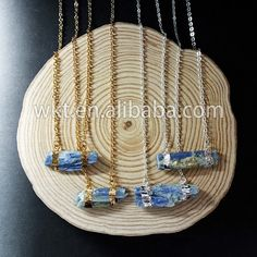 WT-N482 Wholesale Raw blue kyanite double loops necklace with
