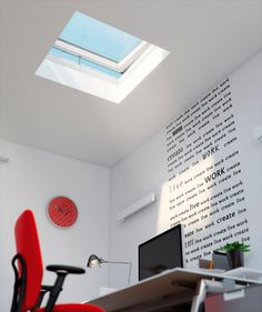 Thinking of converting your garage into a home office? Keep your energy levels up by installing a FAKRO flat roof window above your work space.