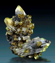 Clear yellow anglesite crystals forming an awesome crystal cluster