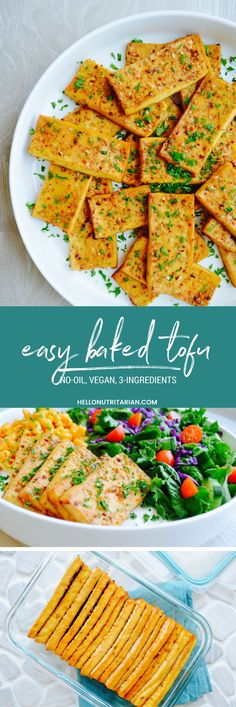 Easy Baked Tofu No-Oil, Vegan, Low-Sodium, 3-Ingredient Recipe - If you're on Dr. Fuhrman's nutritarian plan and missing simple baked chicken, here is you answer!  This tofu is savory, chewy and so simple to make!  Use it in sandwiches, pitas, tacos or cut into strips and tossed in your favorite salad!  Whole food plant based oil-free living never tasted so good and my kids love it!