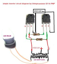 How to make simple inverter & diagram simple inverter Electronics Projects, Simple Electronics, Hobby Electronics, Electrical Projects, Electrical Installation, Electronics Components, Electronic Circuit Design, Electronic Engineering, Led Light Projects