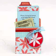 Red and blue library card shaped gift card holder