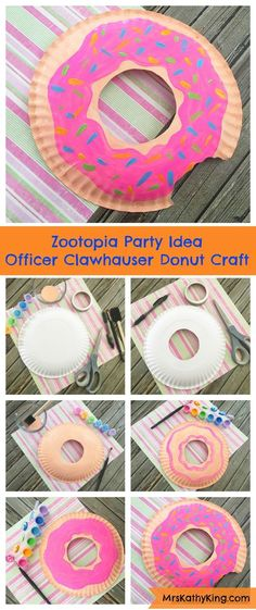 Party - Donuts Zootopia Party Idea : Officer Clawhauser Donut Craft Tips On Creating Your Backyard R Donut Party, Donut Birthday Parties, 7th Birthday, Birthday Crafts, Themes For Birthday Parties, Diy Birthday Food, Birthday Ideas For Girls, Birthday Souvenir, Birthday Banners