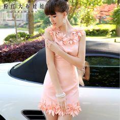 D'origine marque 2015 new Summer Vintage robe femme DABUWAWA pâle rose fleurs slim Vintage robe féminine stéréo main robe(China (Mainland))