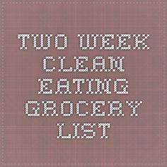 Two week clean eating grocery list