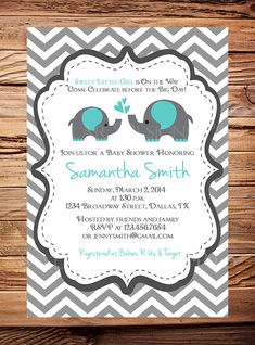 Momma and Baby Elephant Baby Shower Invitation, Aqua, Baby Shower Elephant, BOY, Girl, Gray, Yellow, Purple, Pink, Blue, Green, digital