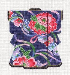 LEE Ribbons & Flowers Blue Oriental Medium Kimono handpainted Needlepoint Canvas