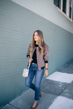 Gal Meets Glam Jumpstart To Fall 3.1 Phillip Lim jacket, Simon Miller tee, Frame denim, Gucci bag, and Chanel flats