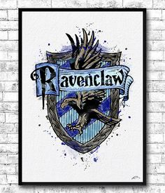Instant Digital Download Ravenclaw Crest 2 Watercolor Print Harry Potter Fine Art Home Decor Wizard Nursery Kids Room Gift Ravenclaw Crest