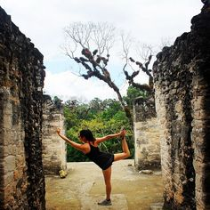 Yoga on a Mayan temple #yogi #om #xoBelize