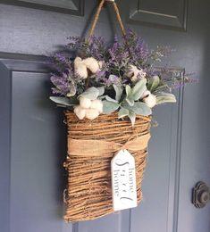 Front Door Hanging Basket, Wreath, Lavender Basket, Lambs Ear Wreath, Farmhouse Decor, Cotton Picks, Artificial Hanging Baskets, Plants For Hanging Baskets, Diy Spring Wreath, Diy Wreath, Wreaths, Artificial Flower Arrangements, Floral Arrangements, Garden Basket, Wooden Tags