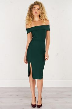 AKIRA Off The Shoulder BodyCon Dress in Hunter Green and Dark Mauve