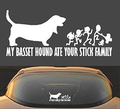 "9"" MY BASSET HOUND ATE YOUR STICK FAMILY FUNNY VINYL DECA..."