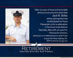 Military Retirement Party Wording for invitations | Dads ...