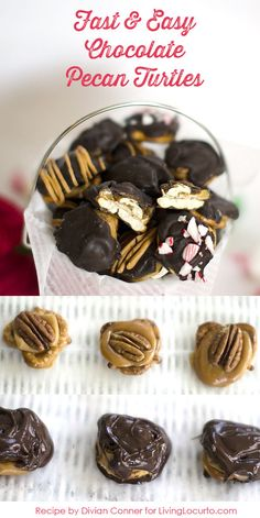 Chocolate Pecan Turtles - A fast and easy recipe perfect for holiday gift giving! Livinglocurto.com