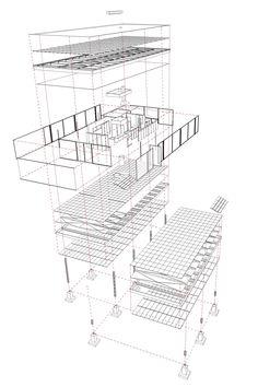 Baukunst: del enunciado teórico a su realización práctica en la Casa Farnsworth Farnsworth House Plan, Casa Farnsworth, Architecture Graphics, Architecture Plan, Architecture Details, House Sketch, House Drawing, Casa Patio, House On Stilts
