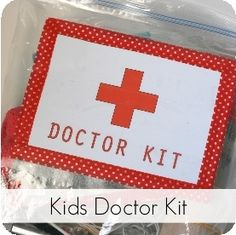 """Toddler """"Doctor Kit"""" In a Bag: Filled with Band-Aids, Q-tips, and other  items from around the house. Great holiday gift for little ones!"""