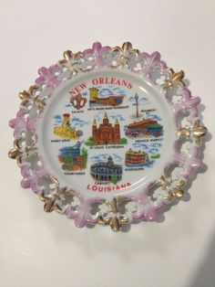 Vintage New Orleans Louisiana Landmarks 8 inch Collectible Plate Souvenir