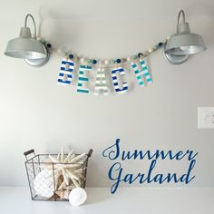 Easy Summer Garland || love the stripes and foil