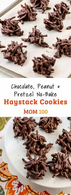 Chocolate, Peanut And Pretzel No-Bake Haystack Cookies Crunchy And Chocolatey- - An Addictive Combination. Extraordinary For The Holidays When The Oven Is Crowded. Baking Recipes, Cookie Recipes, Dessert Recipes, Top Recipes, Party Recipes, Baking Ideas, Appetizer Recipes, Beef Recipes, Yummy Recipes