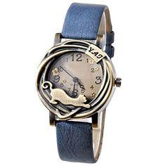 Damen Katze & Blumen Quartz Analog Uhr Armbanduhr Bronze Gehäuse Blau - http://geschirrkaufen.online/sanwood/damen-katze-blumen-quartz-analog-uhr-armbanduhr