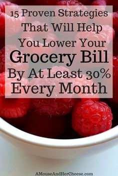 Groceries are often the highest variable expense in most households. Discover 15 strategies that will help you significantly lower your grocery bill every month! Get Out Of Debt, Households, Setting Goals, Frugal Living, Personal Finance, Saving Money, Cheese, Easy, Food