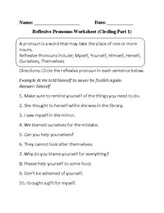 Printables Reflexive And Intensive Pronouns Worksheet circling and writing intensive pronouns worksheet part 1 pronoun reflexive beginner
