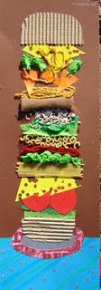 Build a burger....texture collage.  GREAT for students with sensory needs! :)