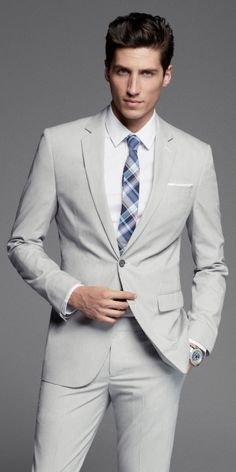 A grey suit is perfect for spring. #Express #mensfashion