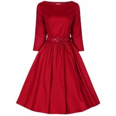 LINDY BOP 'HOLLY' VINTAGE 1950'S SWING ROCKABILLY AUDREY HEPBURN STYLE 3/4 SLEEVE DRESS - Available In Black, Red, Midnight Blue