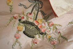 ribbonwork | Antique Charming Ribbonwork Silk Lingerie Bag