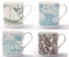 We stock a selection of bone china mugs from only £9.95.  You can make a set for a gift with one design or some complementary different designs and colours.