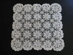 White Crocheted Square Floral Doily L1 by LINENSETCETERA on Etsy, $7.50