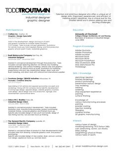 resume by swade industries todd troutman at coroflotcom - Industrial Design Resume