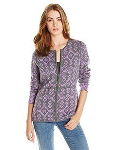 Pendleton Women's Rebecca Reversible Cardigan Sweater, Grey Heather/Viola Heather, Large