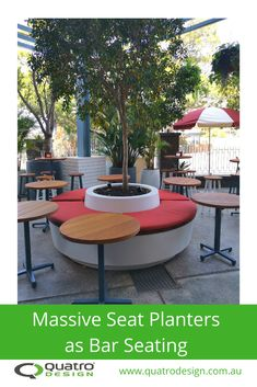 Ideas on how to use pots, planters and plants as bar and public seating Bar Seating, Outdoor Seating, Outdoor Dining, Dining Area, Outdoor Tables, Outdoor Decor, Planter Boxes, Planters, Public Seating