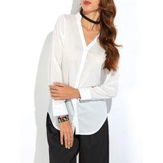 Button Up Back Slit Asymmetrical Blouse